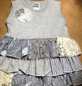Grey, Lace and Sparkles Dress 6-12 Month