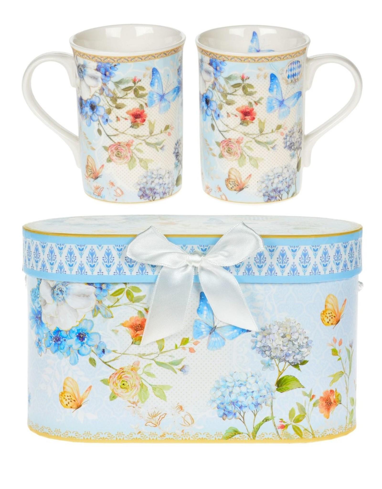 Butterfly China Mugs Set of 2
