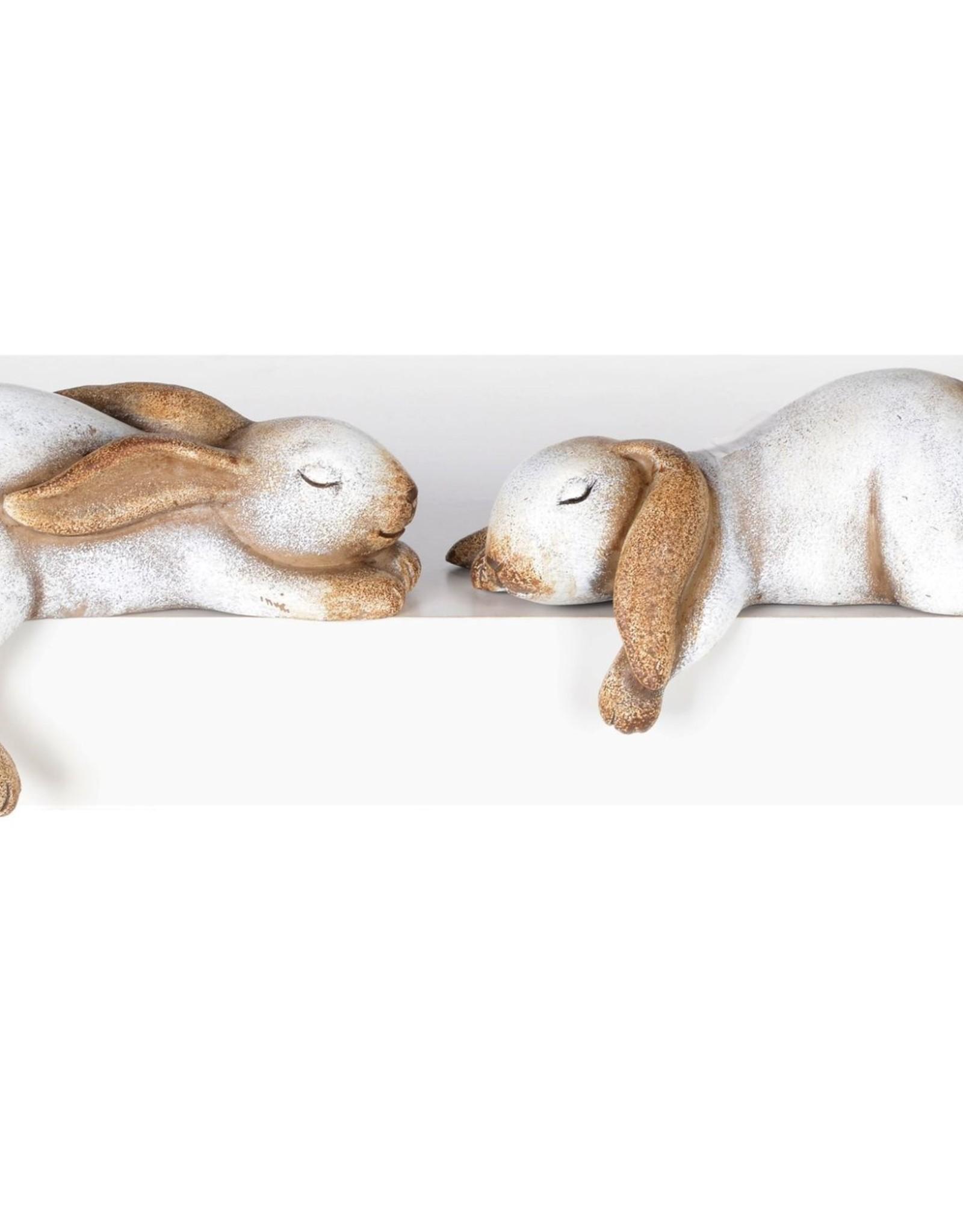 "Laying Shelf Rabbits Set of 2, 6"" x 4"""