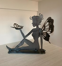 Murals In Metal Sitting Fairy with Butterfly