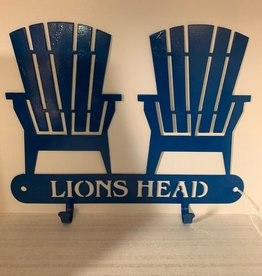 Murals In Metal Lions Head Blue Coat Hook