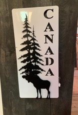 Murals In Metal Metal Canada Sign with Moose and Trees