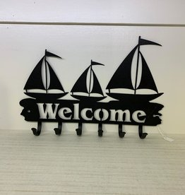 Murals In Metal Sailboat coat/key hook