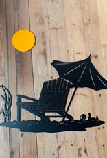 Murals In Metal Beach Scene with Yellow Sun