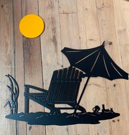 Murals In Metal Beach Scene with Yellow Sun