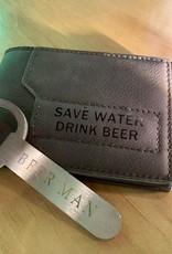 Save Water Drink Beer Wallet - Dark Brown