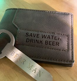 Save Water Drink Beer Wallet - Dark Brown