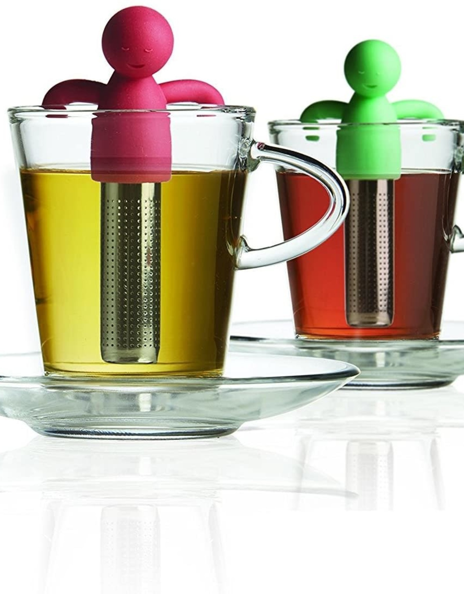 Brilliant - Tandem Tea Set for Two - 2 Glass Cups and Saucers, 2 Tea Infusers with Silicone Molded Smiley Top