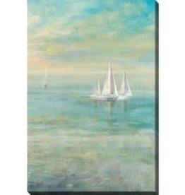 Streamline Art Sunrise Sailboats