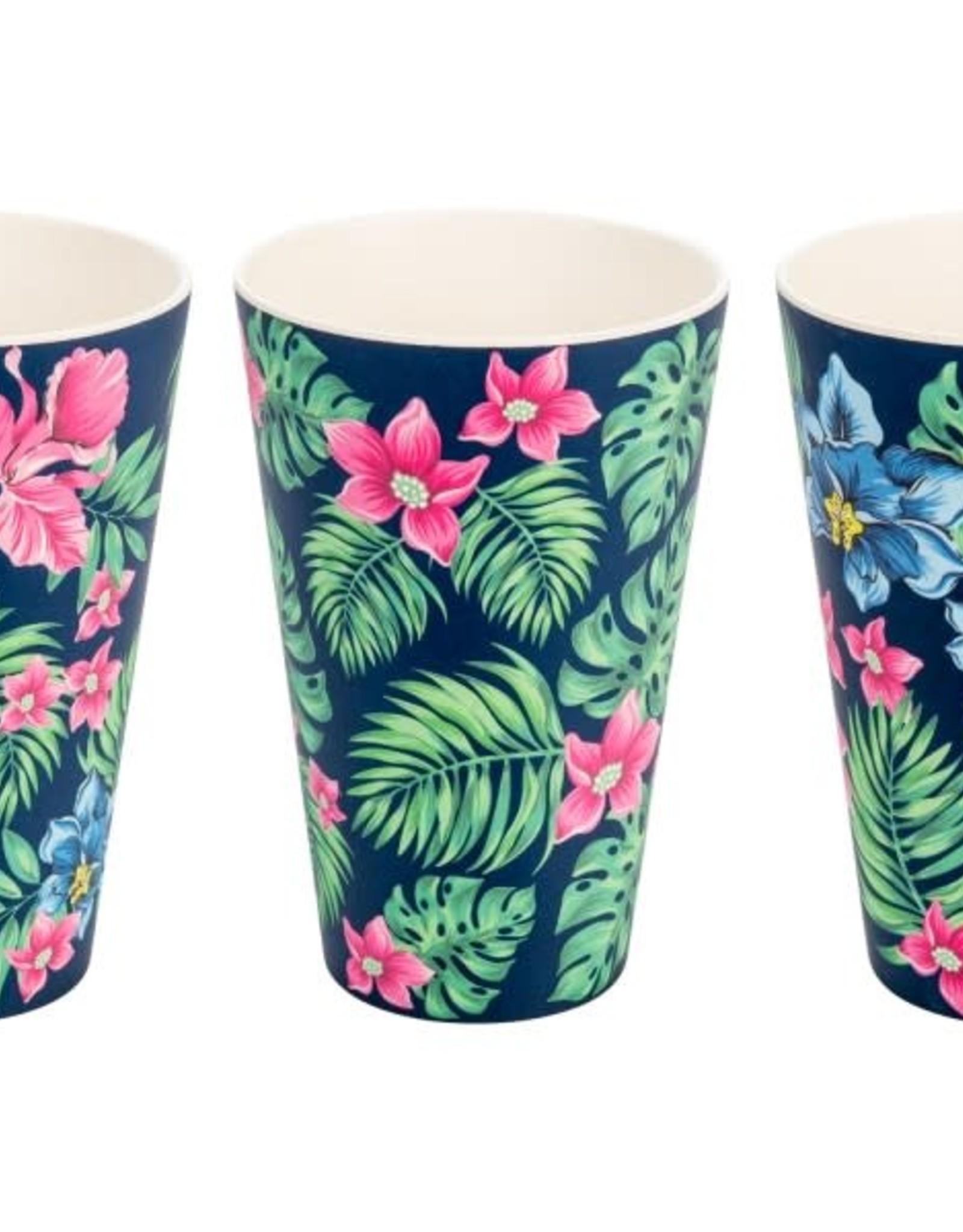 Bamboo Fiber Cups Tropical set of 3
