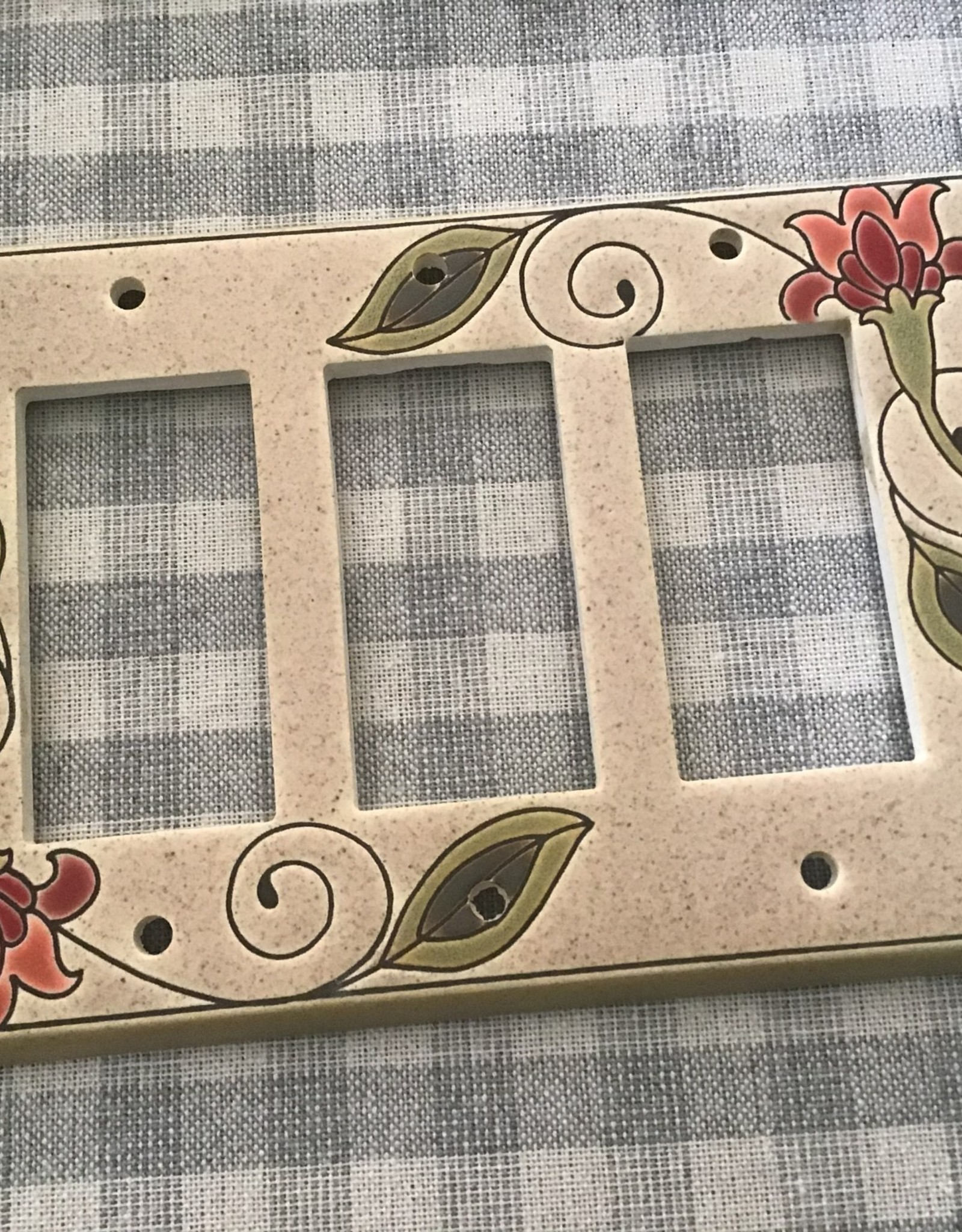 All Fired Up Ceramic Switch Plate Covers Triple Wide
