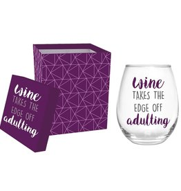 Wine takes the edge off 17 oz glass tumbler