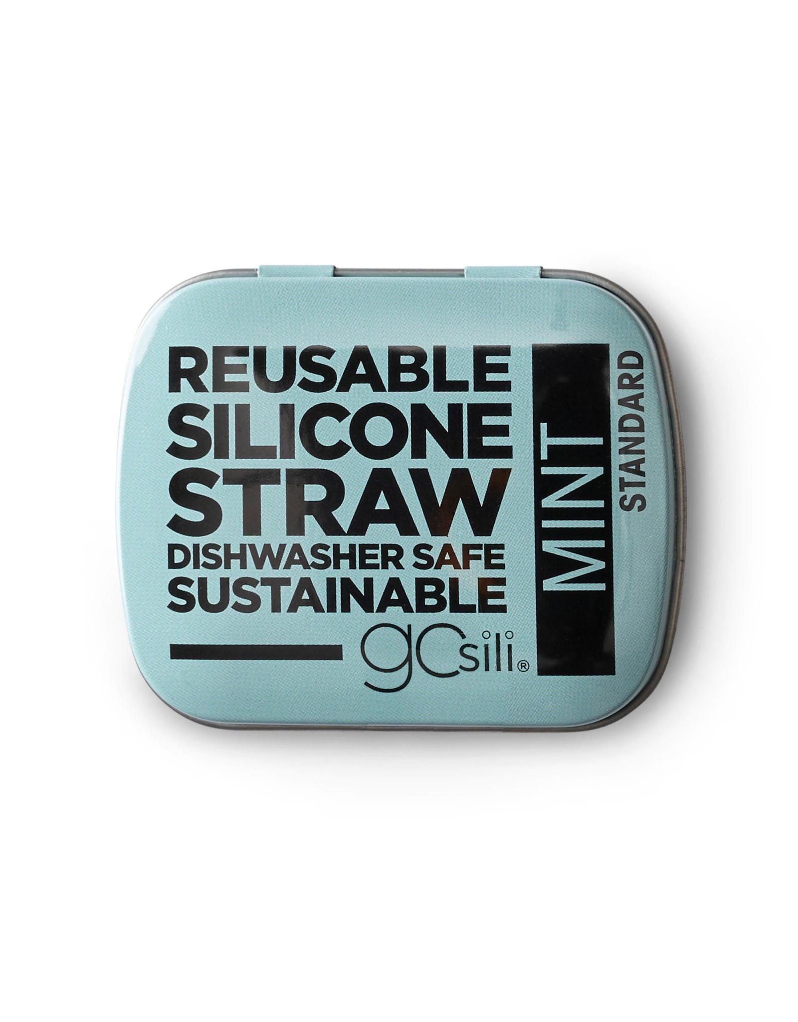 Go sili Reusable silicone straw in tin