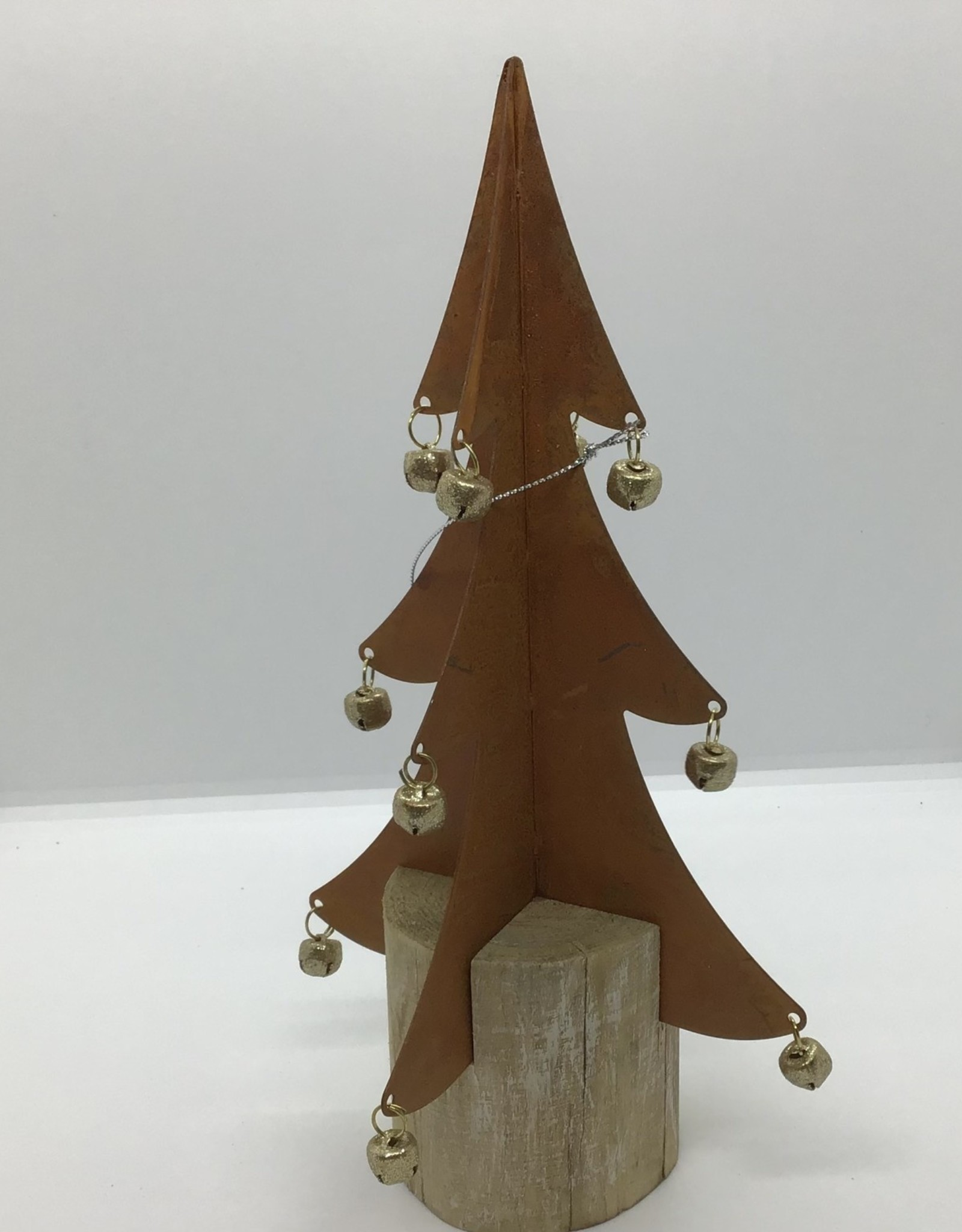 Rusted  Metal Tree with bells/wooden base small