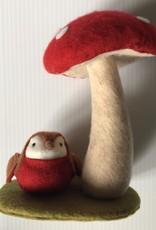 Felt Bird under a Mushroom