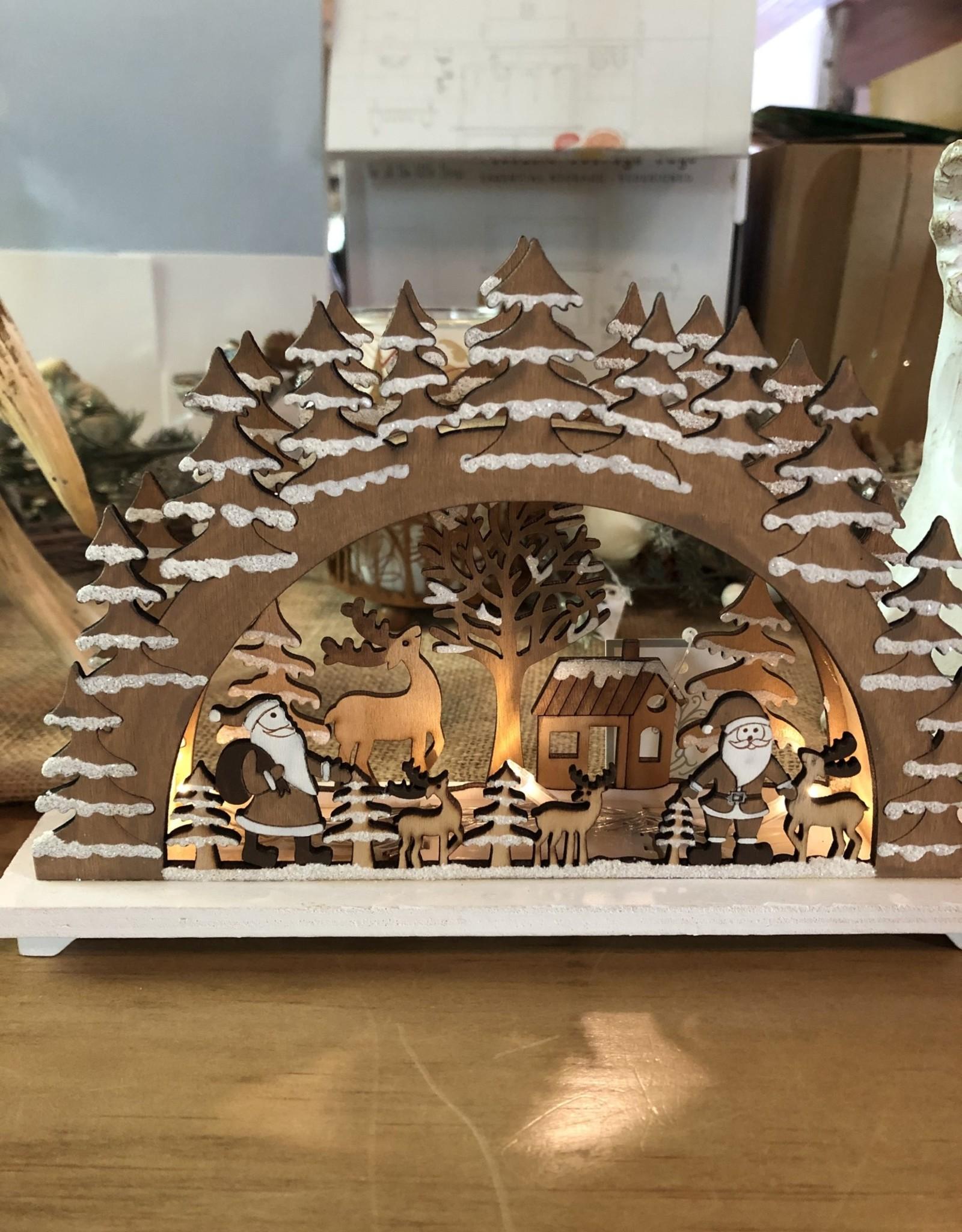 Silver Tree Light Up Wooden Santa Scene