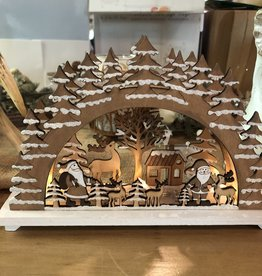 Silver Tree Light Up Wooden Santa Scene