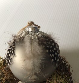 Grey Ball with Feathers Tree Ornament