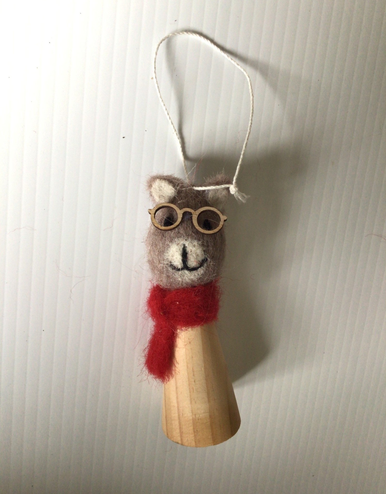 Felted wool and wood Cat Ornament