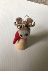 Felted wool and wood Moose ornament
