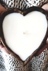 Live Young Candle Company Heart Shaped Dough Bowl Candle White