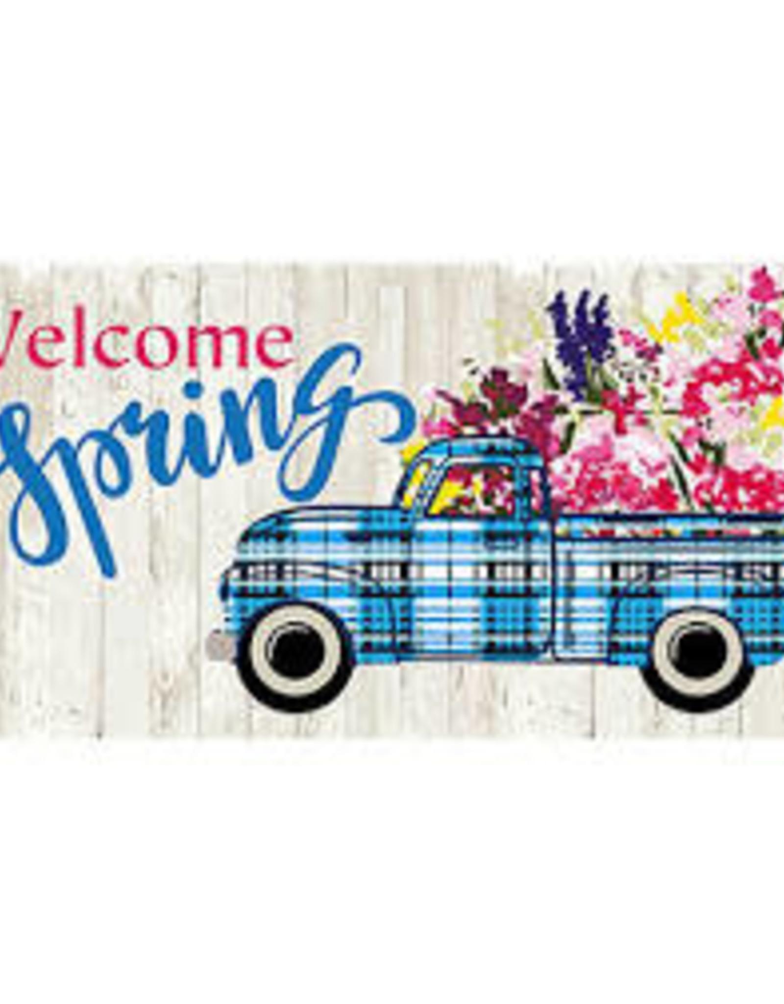 Welcome Spring Plaid Truck Sassafras Mat Insert