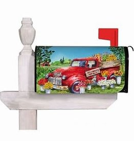 Red Flower Truck Mailbox Cover