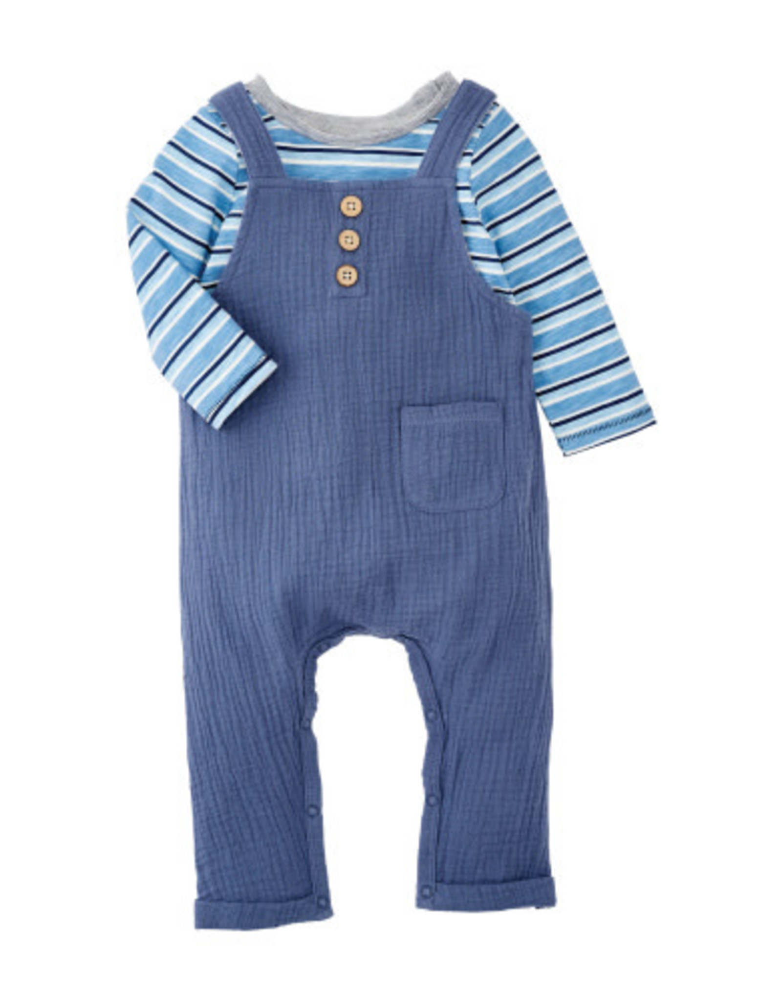 Mud pie Blue Overall and Blue Stripe Shirt