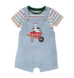 Mud pie Cow  Overall Short and Shirt Set