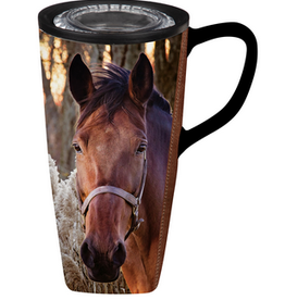 Evergreen Evergreen Ceramic FLOMO 360 Travel Cup, 17 OZ, Horse with Reeds