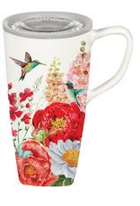 Evergreen Ceramic FLOMO 360 Travel Cup, 17 OZ, Hummingbird and Peonies