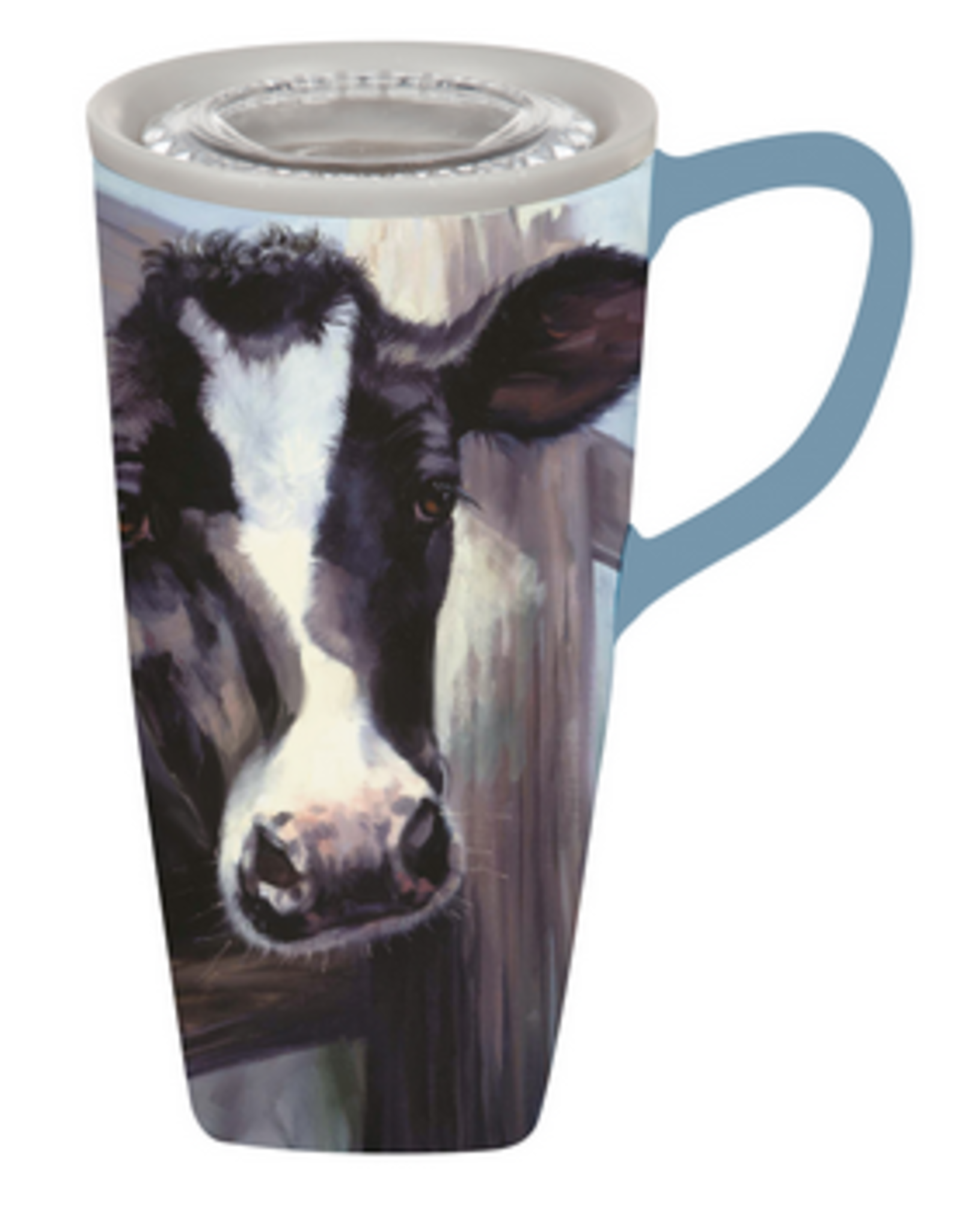 Evergreen Ceramic FLOMO 360 Travel Cup, 17 OZ, Farmhouse Cow