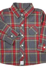 Creative Brands Grey Plaid Flannel Shirt