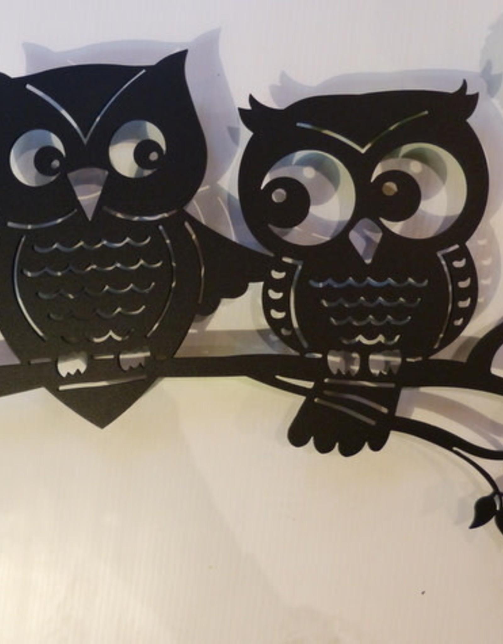 Murals In Metal Owls On Branch