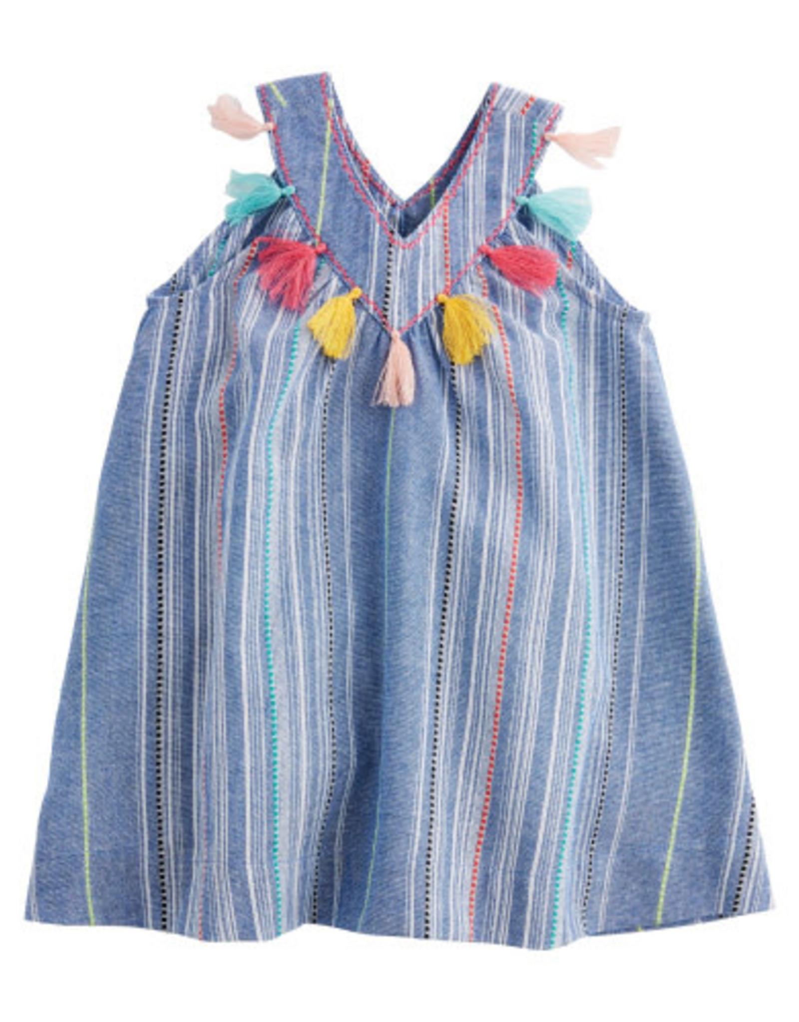 Mud pie Chambray Tassel Dress