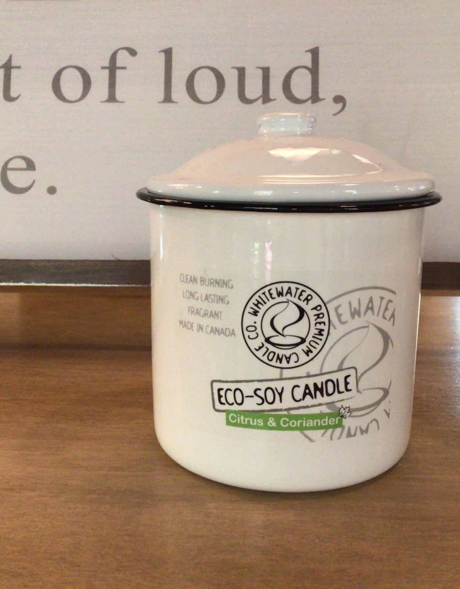 Whitewater Premium Candles Citrus & Coriander 18 oz  Candle Enamel Container