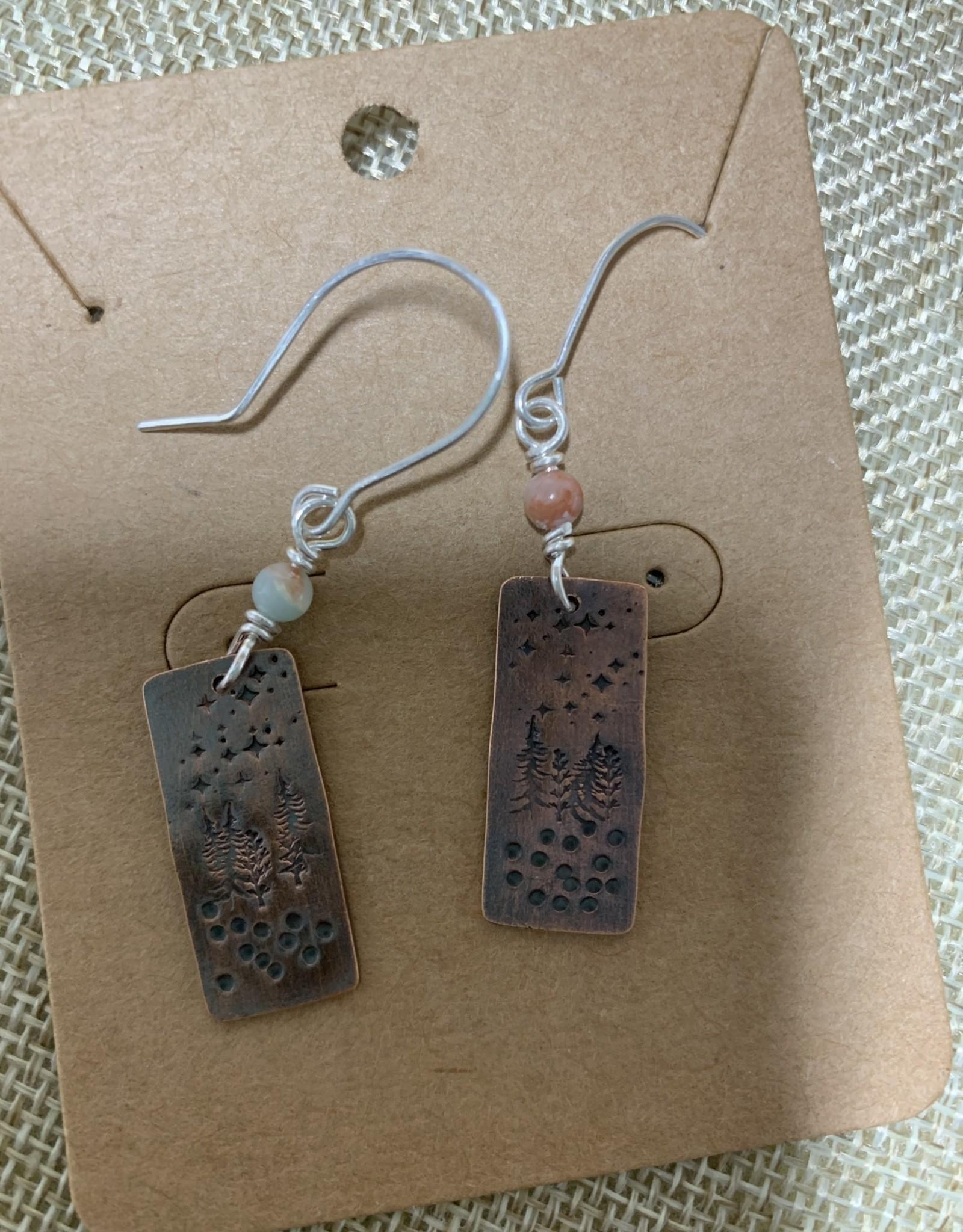 Shoreline Jewelry Stamped Copper, Auque Terra Jasper & Sterling Silver Earrings