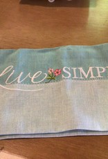 Live Simply Embroidered Tea Towel
