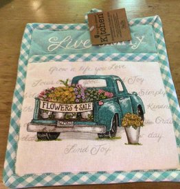 Live Simply Embroidered Pocket Oven Mitt