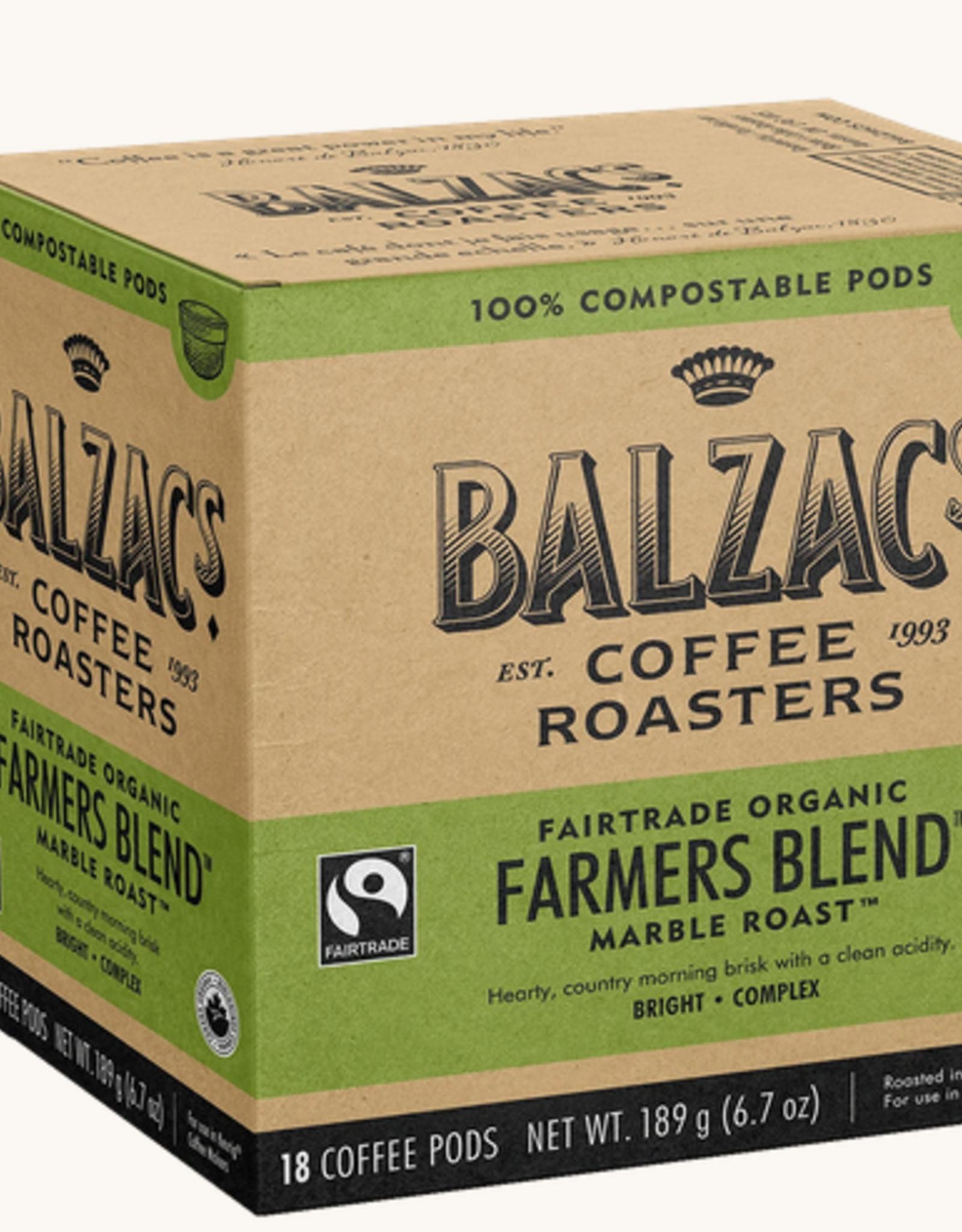 Balzac's Coffee Farmer's Blend Organic Compostable Pod 18/box