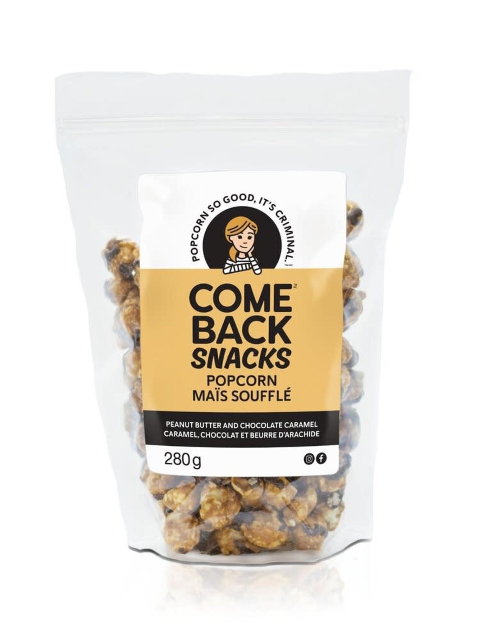 Comeback Snacks Peanut Butter and Chocolate Caramel Popcorn