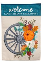 Welcome Wagon Wheel House Bulap Flag