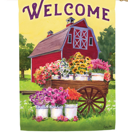 Evergreen Flower Farm Spring Welcome House Suede Flag