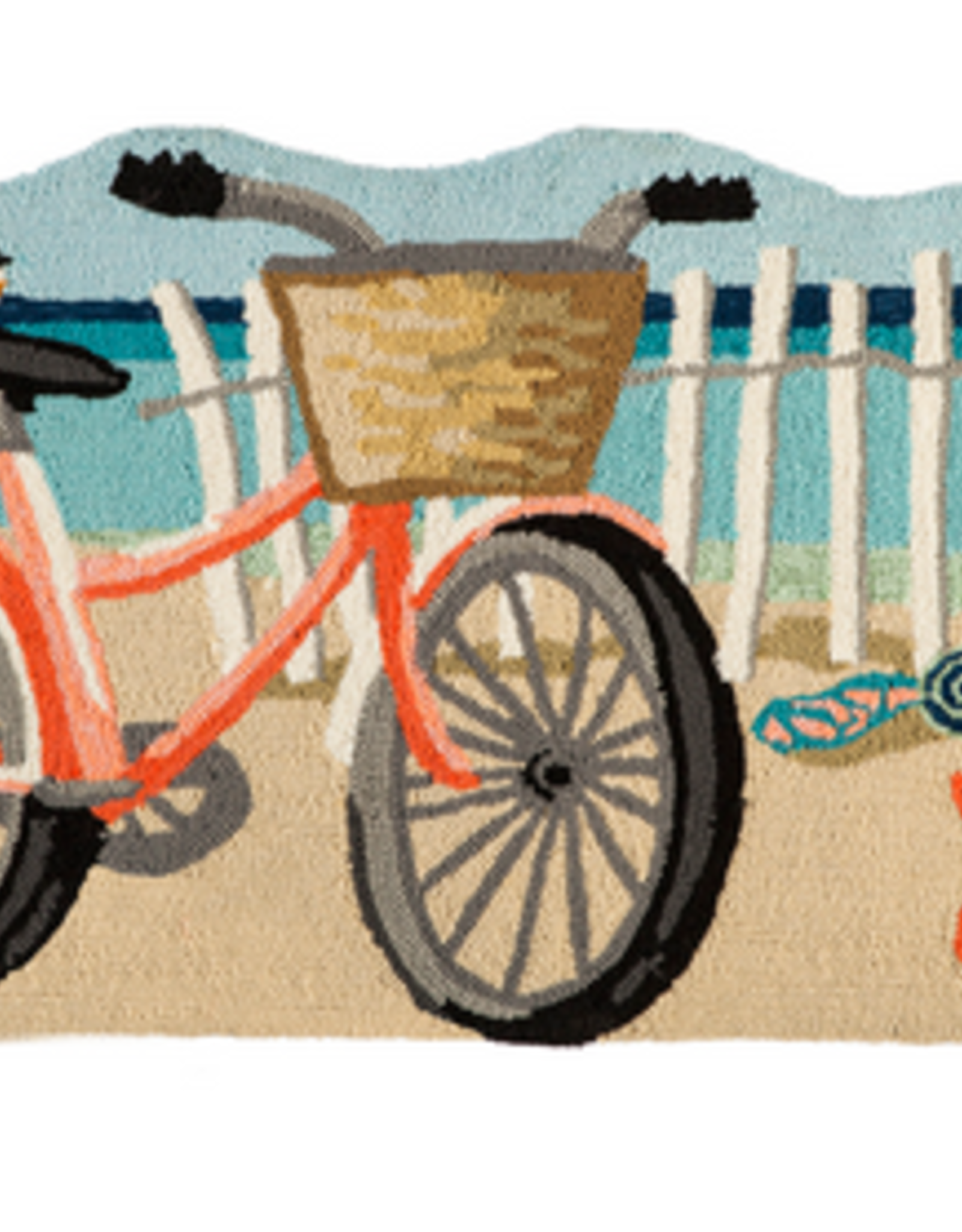 Evergreen Beach Bicycle Shaped Hooked Rug