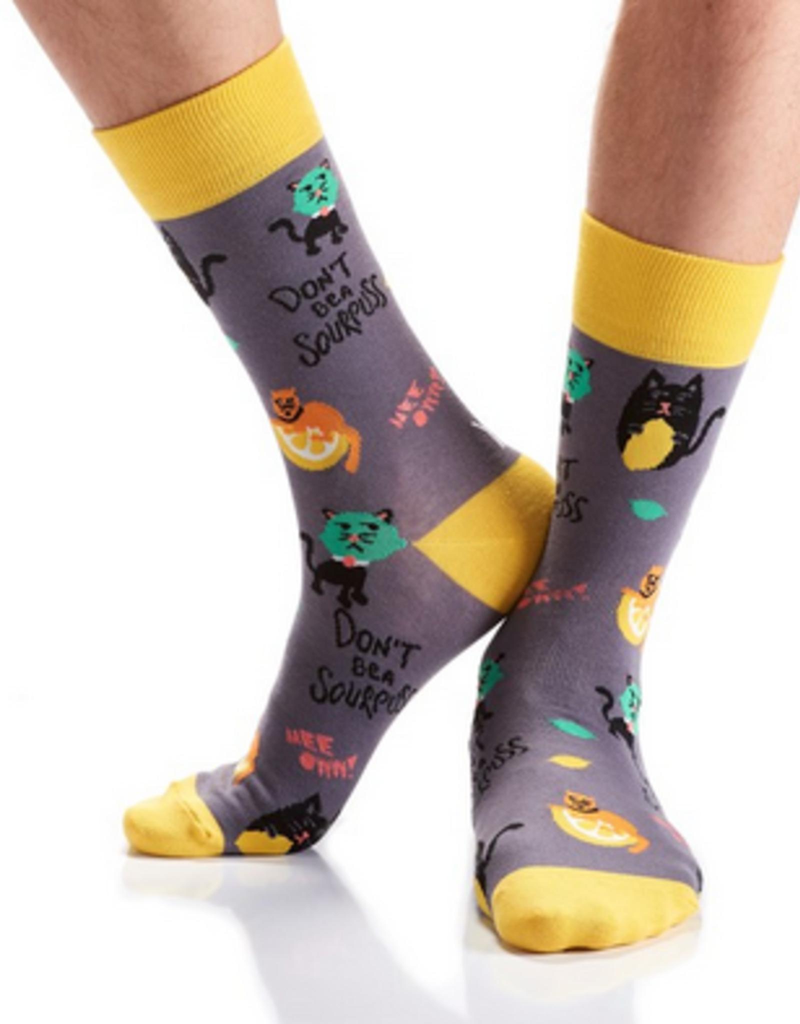 Yo Sox Sour Puss Design, Men's Crew Sock Size 7-12