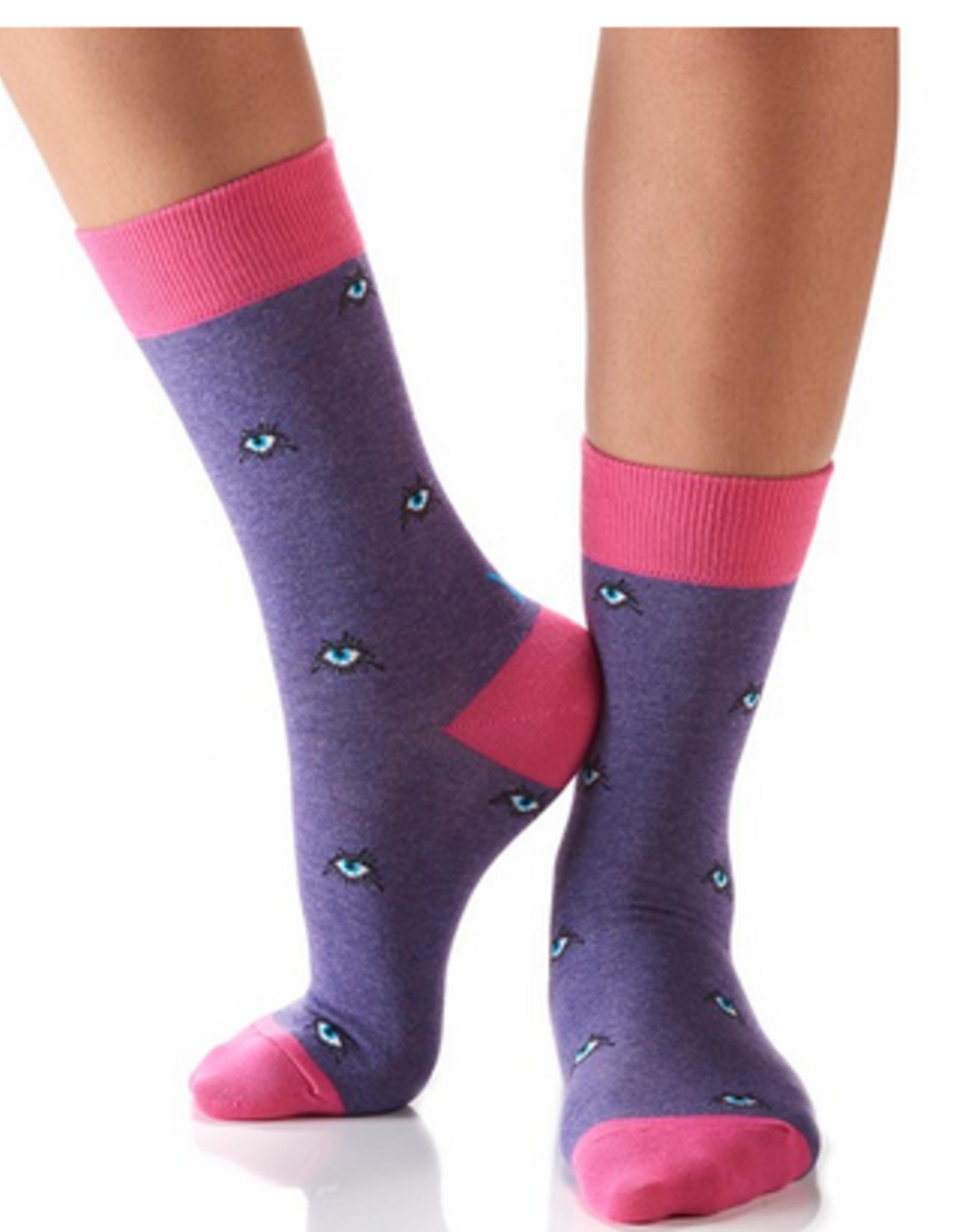 Yo Sox Eyes On You Design, Women's Crew Sock size 6-10