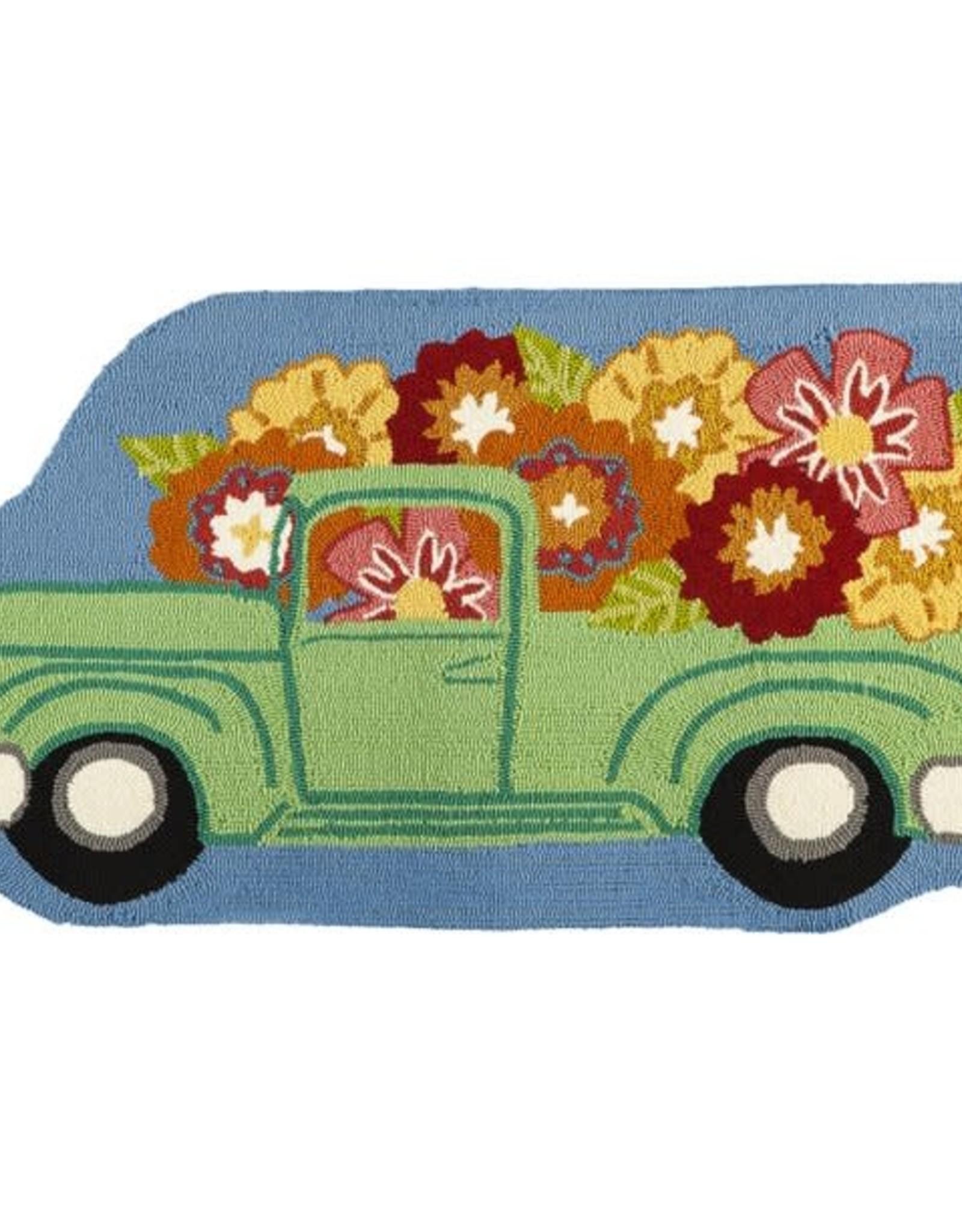 Flower Truck Shaped Hooked Rug