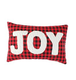 Koppers Plaid Embroidered Joy Pillow