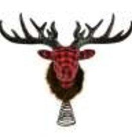 """11"""" Red/Black Deer Tree Topper"""