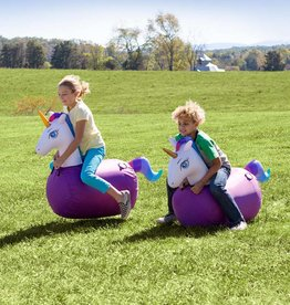 HearthSong Inflatable Ride-On Hop 'n Go Unicorns with Weighted Bottoms and Protective Covers, Set of 2